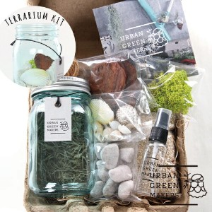 【あす楽対応】URBAN GREEN MAKERS TERRARIUM KIT 03.VINTAGE GLASS JAR TERRARIUM KIT LIGHT BLUE【アーバングリーンメーカーズ...