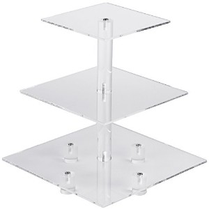 YestBuyテつョ 3 Tier Maypole Square Wedding Party Tree Tower Acrylic Cupcake Display Stand 3 Tier...