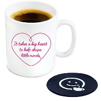 It Takes a Big Heart to Help形状Little Mindsコーヒーマグ、11オンス–Cool Novelty Gift Idea For Teacher 's ホワイト