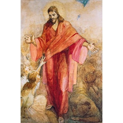 "Christ in Hisレッドローブ24 "" x 36 "" Gicleeキャンバスプリントby Minerva Teichert"