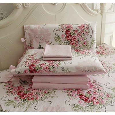 FADFAY Rose Floral 4 Piece Bed Sheet Set 100% Cotton Deep Pocket-Full by FADFAY [並行輸入品]