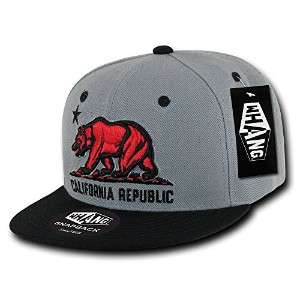 Decky W1-CR-GRYBLK California Republic Snapback Cap, Grey & Black