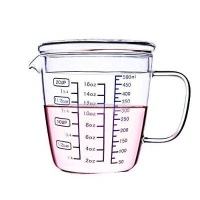 BesteversキッチンLaboratory 16オンスガラスビーカーMeasuring Cup with Lid 2-cup 16OZ