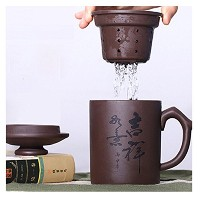 XDOBO Yixing ZishaハンドクラフトパープルClay Tea Cup with Infuser and lid- 500 ml / 17.6 Oz容量
