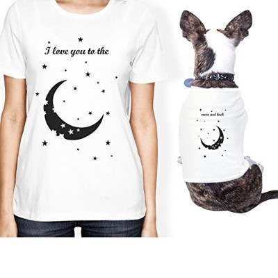 Moon And Back Small Dog Owner Matching Apparel Gift White Women Tee