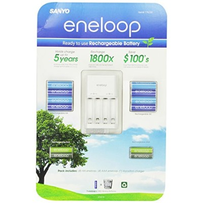 Sanyo Eneloop Ni-MH Charger & Battery Pack (8x AA, 4x AAA) (3rd Gen, 1800x recharge cycles) by SANYO