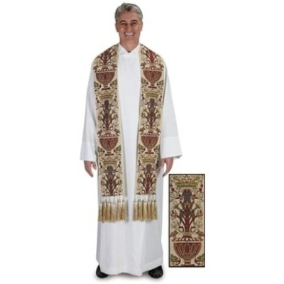 Coronation Tapestry Clergy Stole Lined Polyester Vestment with Gold Tassles