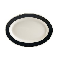 CAC中国レインボーRolled Edge Colored Stoneware Oval Platter 12-1/2-Inch by 8-5/8-Inch ブラック R-14-BLK