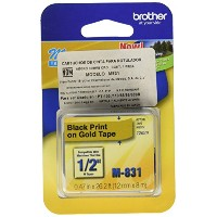 M Series Tape Cartridge for P-Touch Labelers, 1/2w, Black on Gold