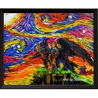 uhomate How to Train Your Dragon Wall Decor Vincent Van Gogh Starry Nightポスターホームキャンバス壁アート記念ギフトベビーギフト...