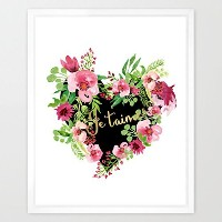 eleville 8x 10JE T ' Aime I Love You Realゴールド箔と花柄水彩アートプリント枠なしLove Quoteプリントハートベッドルーム壁アートホームデコレーション...