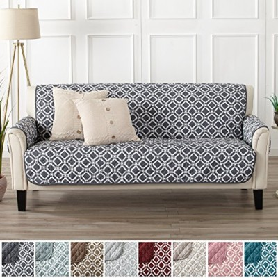 (Sofa, Steel Grey) - Modern Printed Reversible Stain Resistant Furniture Protector with Geometric...