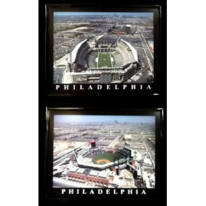 Framed Philadelphia Phillies and Eagles Lincoln Financial Field壁アートセットf2509