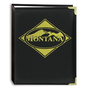 Pioneer Photo Albums 100-Pocket Montana Themed Black Sewn Leatherette Cover Photo Album for 4 by 6...