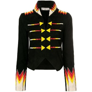 Jessie Western cropped beaded military jacket - ブラック
