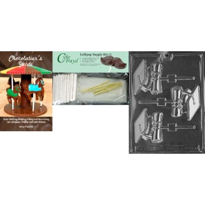 """Cybrtrayd「Chocolatierのバンドルとキャップと卒業証書Lolly"""" Miscellaneousチョコレート金型、Includes 25Lollipopスティック、25Cello..."""