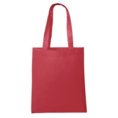 BagzDepot Non-Woven Promotional Budget Friendly Wholesale Tote Bags (50, Red) by BagzDepot