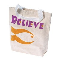 """Lot of 12Religious Christian Fish """" Believe """"キャンバストートバッグ"""