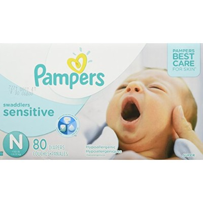 Pampers Swaddlers Sensitive Diapers Size N Super Pack 80 Count by Pampers