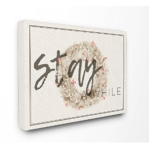 Stupell産業Stay A While Strawflower Wreathストレッチキャンバス壁アート、16x 1.5X 20, Proudly Made in USA