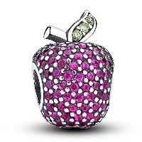 Pave Apple With Fancy Red CZ And Green Crystal Charm スターリングシルバー SILVER 925 キラキラ リンゴ ローズピンク クリア CZ...