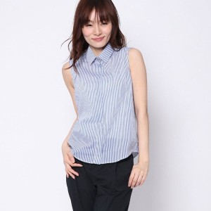【SALE 50%OFF】ニューヨーク インダストリー New York Industrie Outlet ストライプ襟付ブラウス (ブルー)