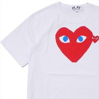 PLAY COMME des GARCONS(プレイ コムデギャルソン) MEN'S BLUE EYE HEART PRINT TEE (Tシャツ) WHITExRED 200-007771...
