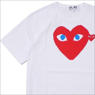 PLAY COMME des GARCONS プレイ コムデギャルソン MENS BLUE EYE HEART PRINT TEE Tシャツ WHITExRED 200007771040x【新品】...