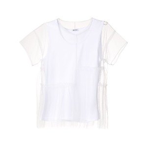 P.A.R.O.S.H. tiered mesh overlay T-shirt - ホワイト