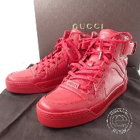 GUCCI【グッチ】 388015-A3840-6433 NewWoman REDleather high-top sneaker レディース レッド レザー ハイ-トップスニーカー38 シューズ...