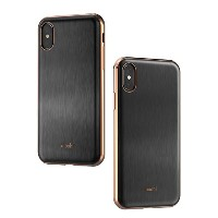 moshi iGlaze for iPhone X (Armour Black) ケース 高光沢 高耐久 米軍MIL規格 ワイヤレス充電対応