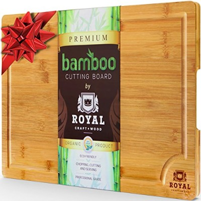 Extra LargeオーガニックバンブーカッティングジュースGroove–BestキッチンChopping Board for Meat ( Butcherブロック)チーズと野菜|...