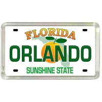Orlando Florida License Plate Acrylic Small Fridge Collector's Souvenir Magnet 2 X 1.25 by World By...