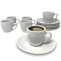 Tableau 12-pieceエスプレッソセット、6カップ、6 Saucers、セラミック、3-ounces、ホワイト