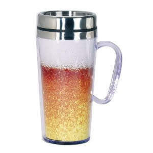 Spoontiques Beer Insulated Travel Mug, Gold