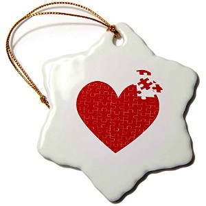 3dローズAnne Marie Baugh Hearts–Large Red Heart Madeのパズルピース–Ornaments 3 inch Snowflake Porcelain...