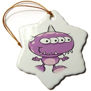 3drose Dooni Designs Monsters and Alien Designs – Cute HornedパープルMonster Cartoon Character –...