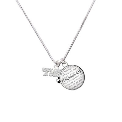 """Silvertone Kick Like A Girl Withエナメルサッカーボール–Bible verse Philippians 4: 13ガラスドームNecklace , 18"""" +..."""
