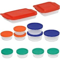 Pyrex Bake and Store 24ピースガラスBakeware Set withマルチカラー蓋