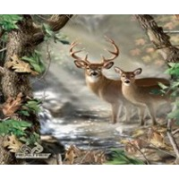 REAL TREE COTTON FABRIC BY SYKEL-REAL TREE CAMOUFLAGE DEER QUILT PANEL IN FORREST-SOLD BY THE PANEL...