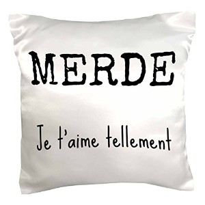 """Xander French引用–Merde、Je Taime Tellement、Shit、I Love You So Much In French–枕ケース 16"""" x 16"""" pc..."""
