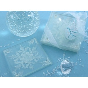 "Artisano Designs "" Shimmering Snow Crystal "" Frostedスノーフレークガラスコースター Set of 2 A51014"