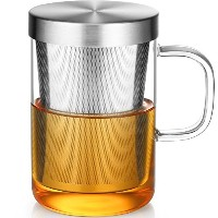 ECOOEクリアガラスTea Mug Cup with Stainless Steel Infuser Lid for Loose Tea /ティーバッグ17オンス