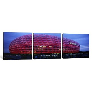 iCanvasART 3Piece Soccer Stadium Lit Up At Dusk、Allianz Arena、ミュンヘン、ドイツキャンバスプリントbyパノラマ写真、36x...