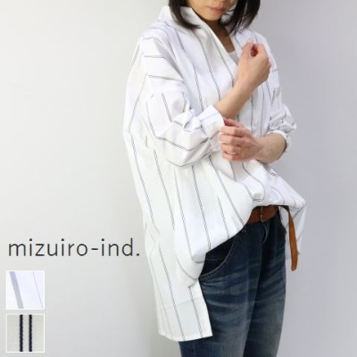 【 30%off SALE 】  mizuiro ind (ミズイロインド)mizuiro-ind.strip high neck P/O 2colormade in japan1-237373