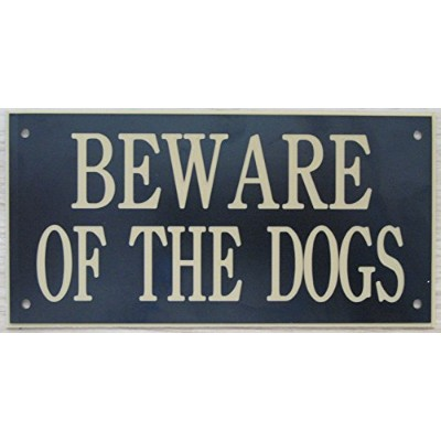 6in x 3inアクリルBeware of the Dogs Sign inブラックwithゴールドPrint