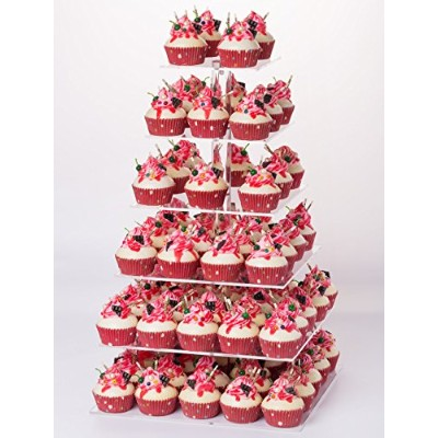(6 Tier Square) - YestBuy 6 Tier Maypole Square Wedding Party Acrylic Cupcake Display Stand (Normal...