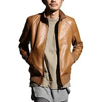 (br5050) DS∴LEATHER JACKET (リブ15キャメル L)