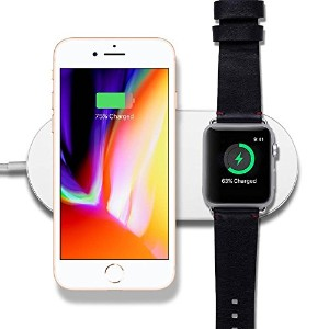 楽真 Apple Watchと携帯 [2in1] 同時充電器 高速 Apple7.5w/Samsung 10W 充電対応 無線充電スタンド Apple watch series 3/series 2...