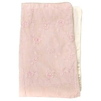 Full/Queen Duvet (Pink Moir w/Floral Header on 1 Side) (87x91) by Glenna Jean